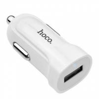 Зарядное устройство в прикуриватель авто на 1 USB  1.5 A Hoco USB White