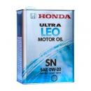 Моторное масло HONDA 0W20 ULTRA LEO SN, 4 литра