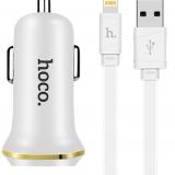 Зарядное устройство в прикуриватель авто на 2 гнезда Hoco USB White + Lightning